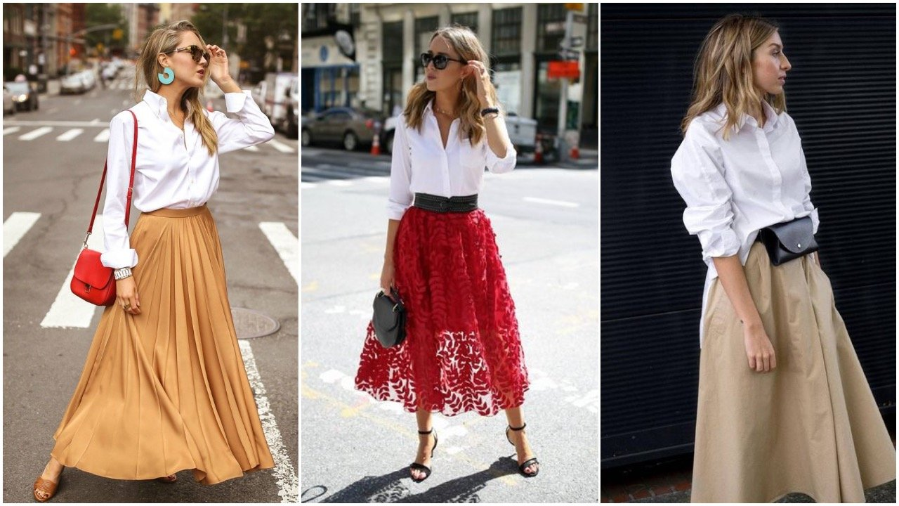 white shirt styled with a midi or maxi skirt