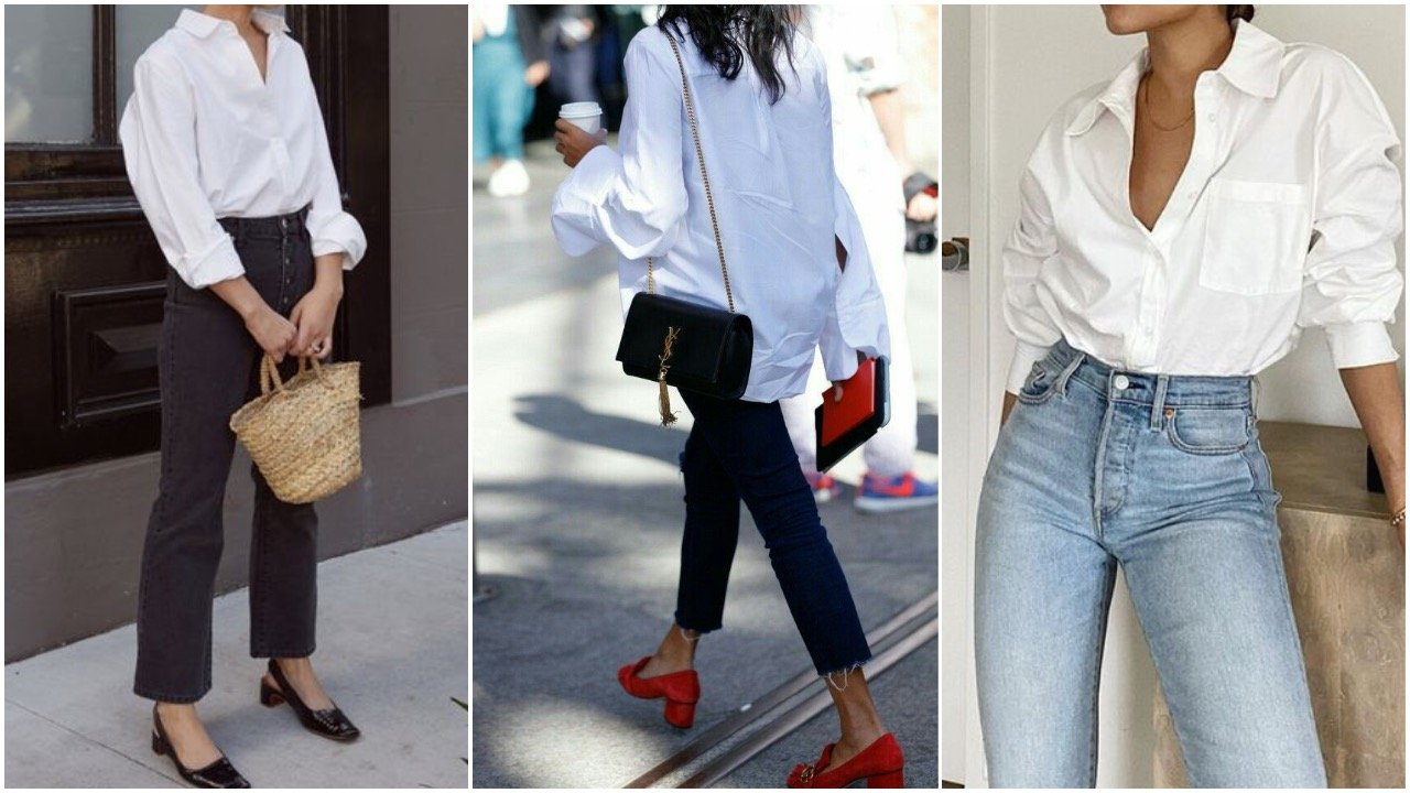 white shirt styled with jeans