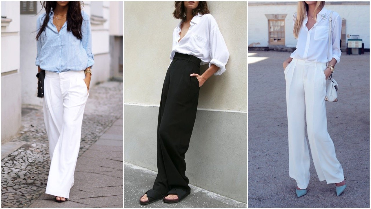 white shirt styled with wide leg trousers