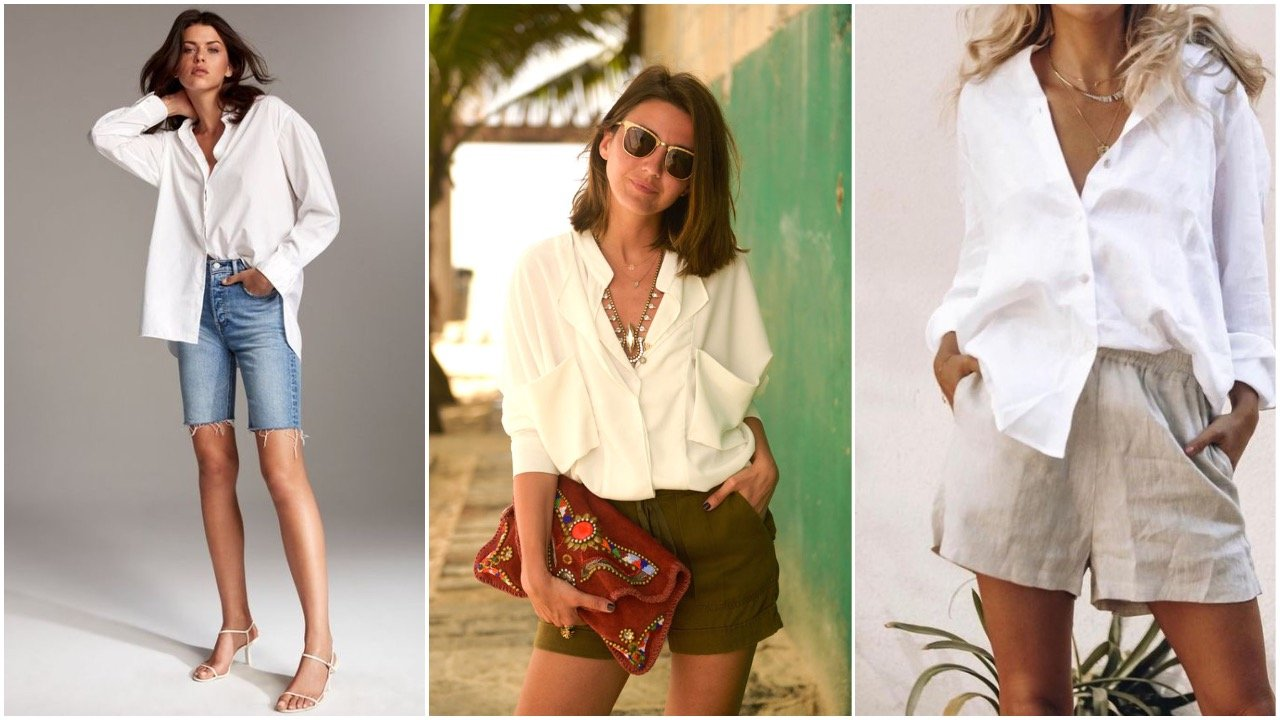 white shirt styled with shorts
